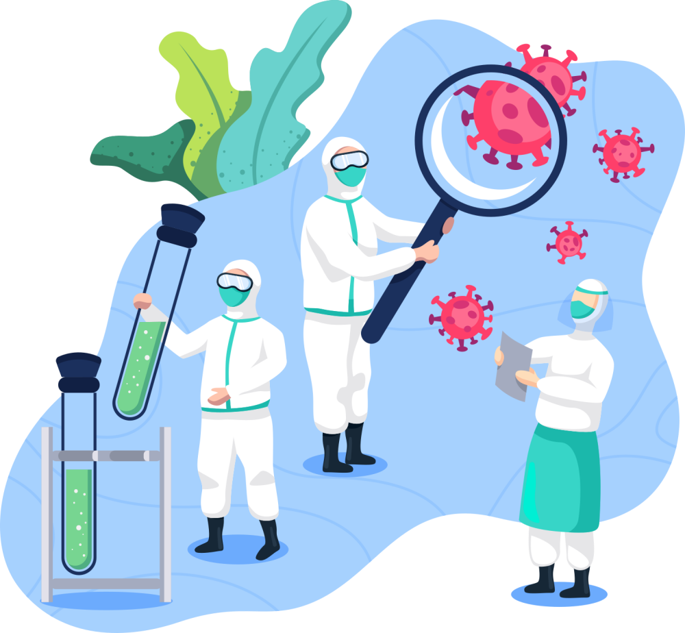 Scientists conducting medical research